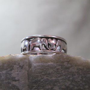 Sterling Silver Ring ELEPHANTS Enduring Heart Band